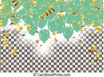 convite, aniversário, vetorial, verde, balões, partido, cartão, feliz