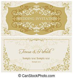 convite, barroco, bege, ouro, casório
