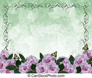 convite, borda, lavanda, rosas