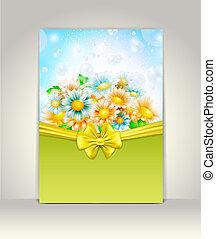 convite, cartão, com, flores mola