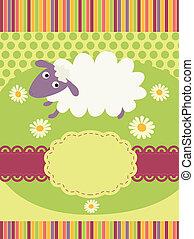 convite, cartão, com, um, cute, sheep