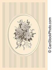 convite, cartão, em, um, estilo retro, com, rosas