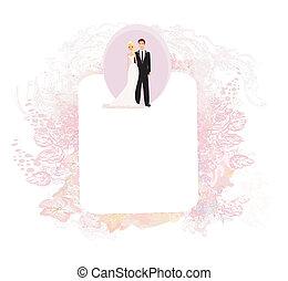 convite, cartão, fundo, casório, elegante, vindima, ornamento
