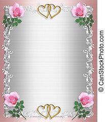 convite, casório, chique, cor-de-rosa, roto, cetim