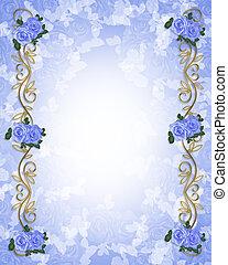 convite casamento, azul, rosas, borde