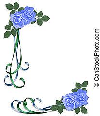 convite casamento, azul, rosas, corne