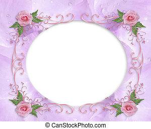 convite casamento, borda, cor-de-rosa levantou-se