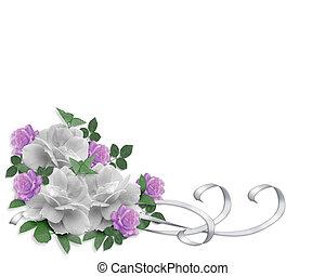 convite casamento, borda, rosas