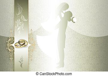 convite casamento, cartão, design.