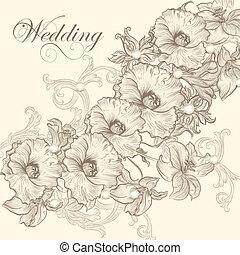 convite casamento, cartão, para, desenho