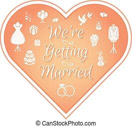 convite casamento, emblema, cor-de-rosa