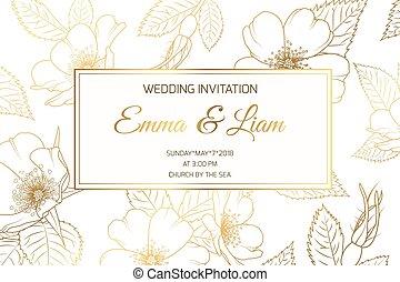 convite casamento, rosa selvagem, luxo, brilhante, dourado