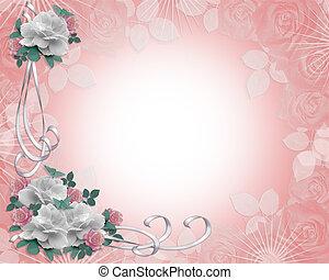convite casamento, rosas, borda