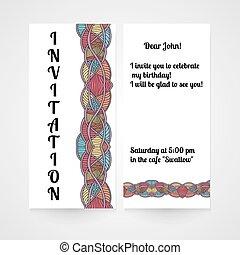 convite, com, abstratos, mão, desenhado, pattern.