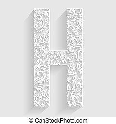 convite, floral, vetorial, letra, h.