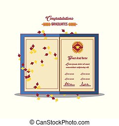 convite, graduação, cartão, ícone