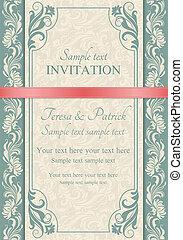 convite, marrom, barroco
