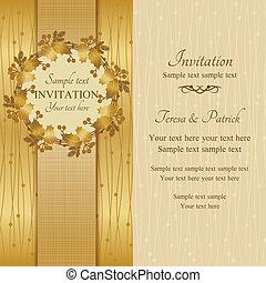 convite, natal, ouro, bege