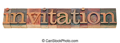convite, -, palavra, em, letterpress, tipo