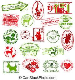 convite, -, vetorial, scrapbook, desenho, natal, cobrança, selo