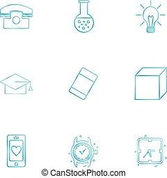 Convocation , cube , idea , bulb , beaker , watch , time , clock