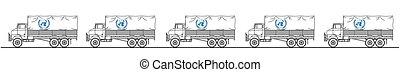 convoi, représentation, camion, onu