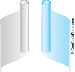 Convolute in a roll packages. Vector illustration on white ...