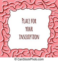convolutions., εγκέφαλοs , κορνίζα , μικροβιοφορέας , illustration.