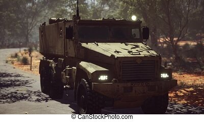 convoy armored vehicle on the road