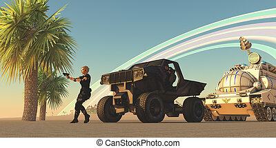 convoy, en, extranjero, planeta