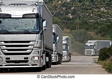convoy, plata, camiones