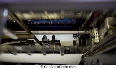 convoyeur, belt., machines, vidéo, contient, rouleaux, vibrations., house., plier, papier, machine, impression