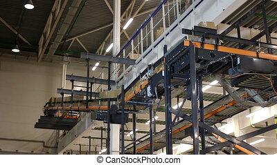 convoyeur, boîtes, entrepôt, distribution, carton, ceinture