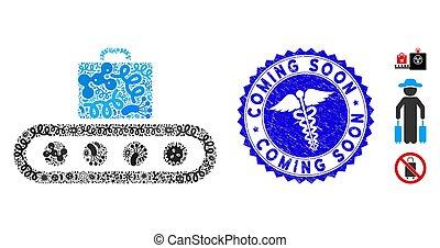 convoyeur, mosaïque, biohazard, bagage, cachet, bientôt, venir, clinique, textured, icône