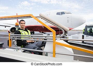 convoyeur, séance, bagage, ouvrier, camion, mâle