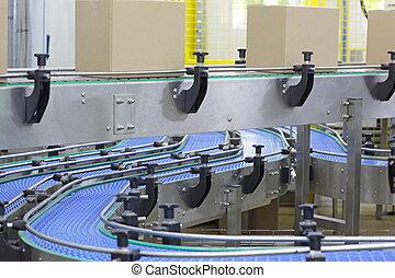 convoyeur, -, usine, automation, boîtes, carton, ceinture