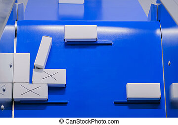 convoyeur, vue dessus, -, boîtes, en mouvement, petit, blanc, carton, ceinture
