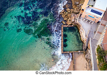 Coogee Beach and Ross Jones Pool aerial views