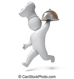 Cook 3d render - Chef carries a tray, on a white background,...