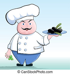 Cook a vegetarian - Chef holding a tray with black olives. ...
