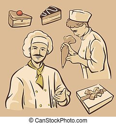 Cook and piece of Cake. Set vintage vector symbols and icon