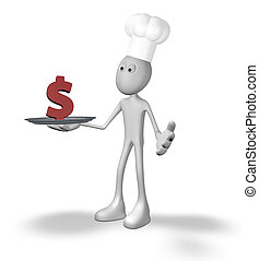 cook and plate with dollar symbol - 3d rendering