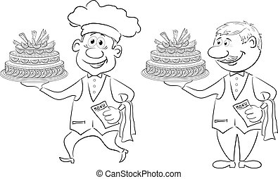 Cook and waiter with holiday cakes, outline