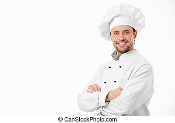Attractive smiling chef on a white background