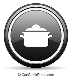 cook black circle glossy web icon