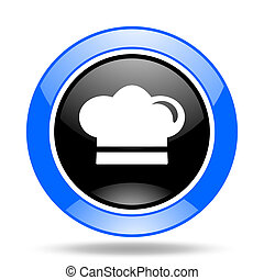 cook blue and black web glossy round icon