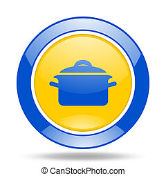 cook blue and yellow web glossy round icon