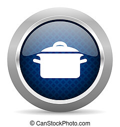 cook blue circle glossy web icon on white background, round button for internet and mobile app