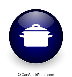 Cook blue glossy ball web icon on white background. Round 3d render button.