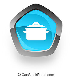 cook blue metallic chrome web pentagon glossy icon